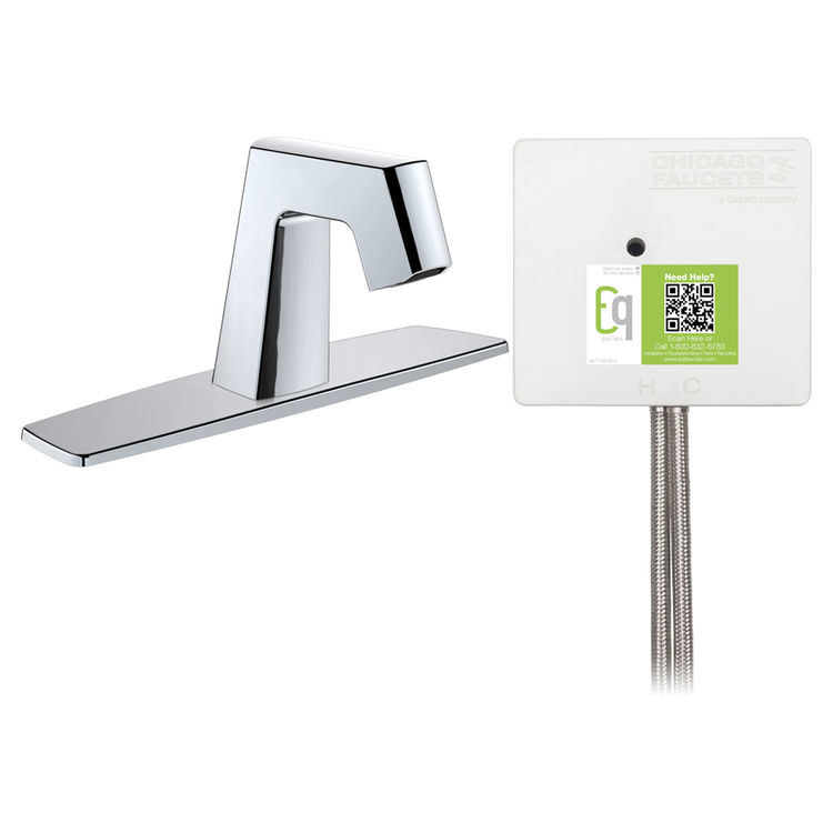 View 2 of Chicago Faucet EQ-B13A-33ABCP Chicago Faucets EQ-B13A-33ABCP EQ Chrome EQ Angular Series Lavatory Sink Faucet with Hands-free Infrared Detection