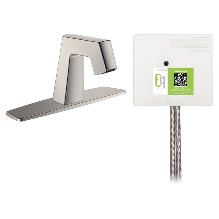 View 2 of Chicago Faucet EQ-B13A-13ABBN Chicago Faucets EQ-B13A-13ABBN EQ Brushed Nickel EQ Angular Series Lavatory Sink Faucet with Hands-free Infrared Detection