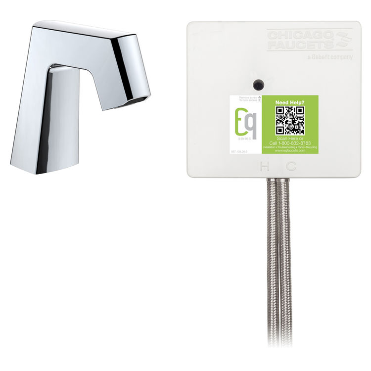 View 2 of Chicago Faucet EQ-B11A-41ABCP Chicago Faucets EQ-B11A-41ABCP EQ Chrome EQ Angular Series Lavatory Sink Faucet with Hands-free Infrared Detection