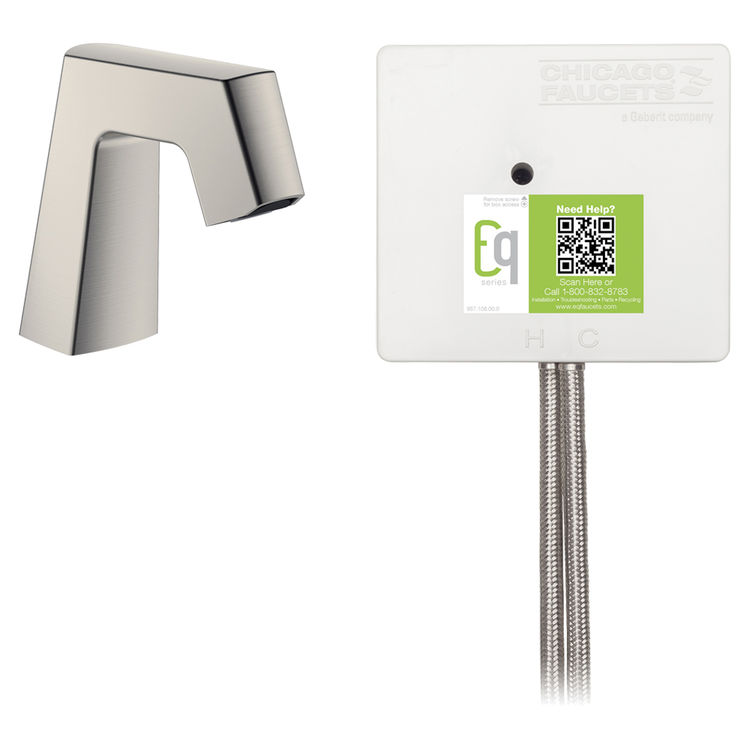View 2 of Chicago Faucet EQ-B11A-32ABBN Chicago Faucets EQ-B11A-32ABBN EQ Brushed Nickel EQ Angular Series Lavatory Sink Faucet with Hands-free Infrared Detection