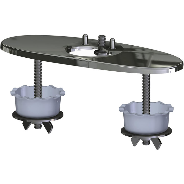 Chicago Faucet EQ-A12-KJKCP Chicago Faucets EQ-A12-KJKCP EQ Chrome Cover Plate For EQ Series Curved or High Arc Deck-mounted, 3-hole, 4 inch (102 mm) Center Installations