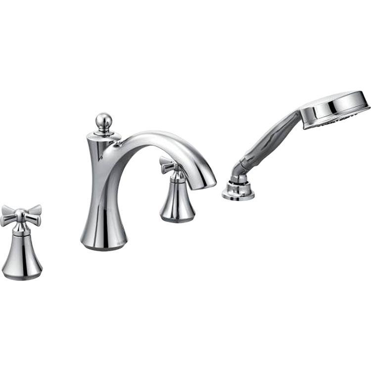 Moen T658 Moen T658 Wynford Chrome Roman Tub Faucet Trim with Handheld
