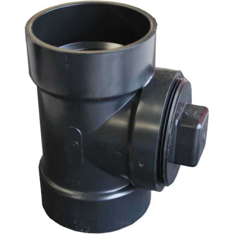 Commodity  4 Inch ABS Cleanout Tee with Plug, ABS Construction