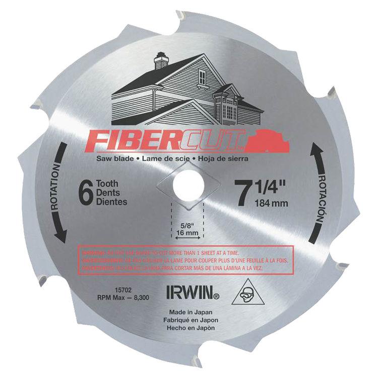 Irwin 15702 Irwin 15702 Circular Saw Blade, 7-1/4 in Dia, 6 Teeth, 1 in Arbor