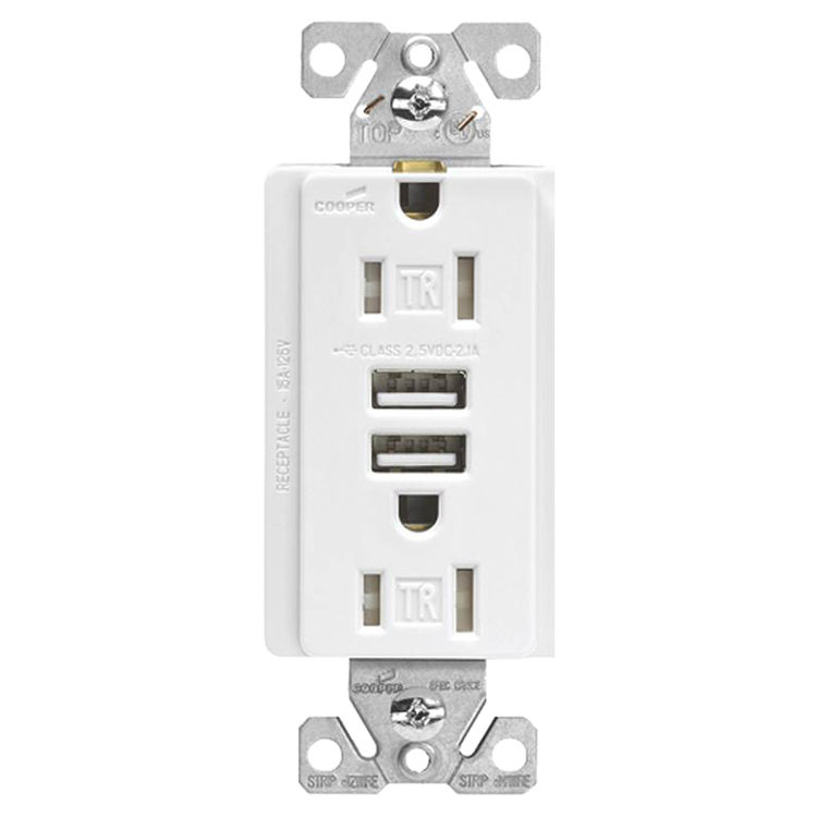 cooper wiring tr7745w k commercial spec grade usb receptacle 125 v rh plumbersstock com Cooper Wiring Wall Plates Cooper Wiring Products