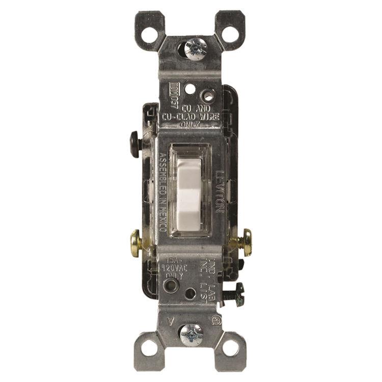 Leviton C24-01461-GLW Heavy Duty Toggle Switch, 120 V, 15 A, 1 P, White