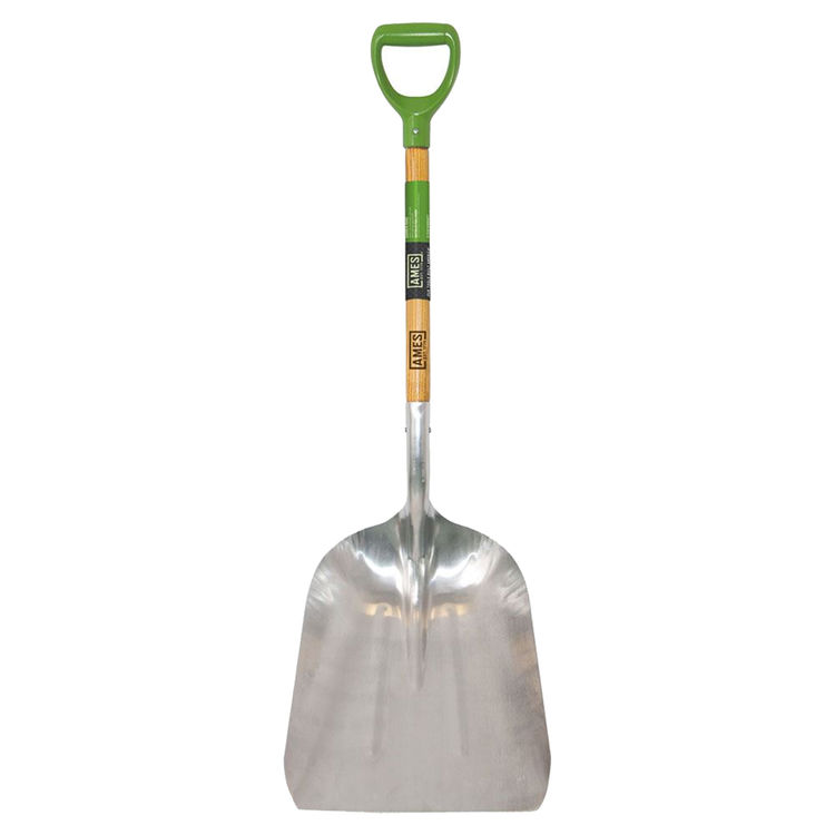 Ames 2672400 Ames 2672400 Scoop Shovel, 15-1/2 in W x 11-1/2 in L, Aluminum, 34-1/2 in, D-Grip Ash Wood Handle