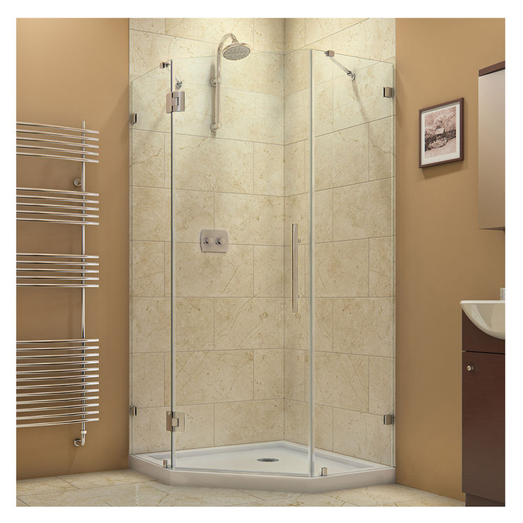 DreamLine DL-6052-01 Chrome Hinged Corner Shower Enclosure and White ...