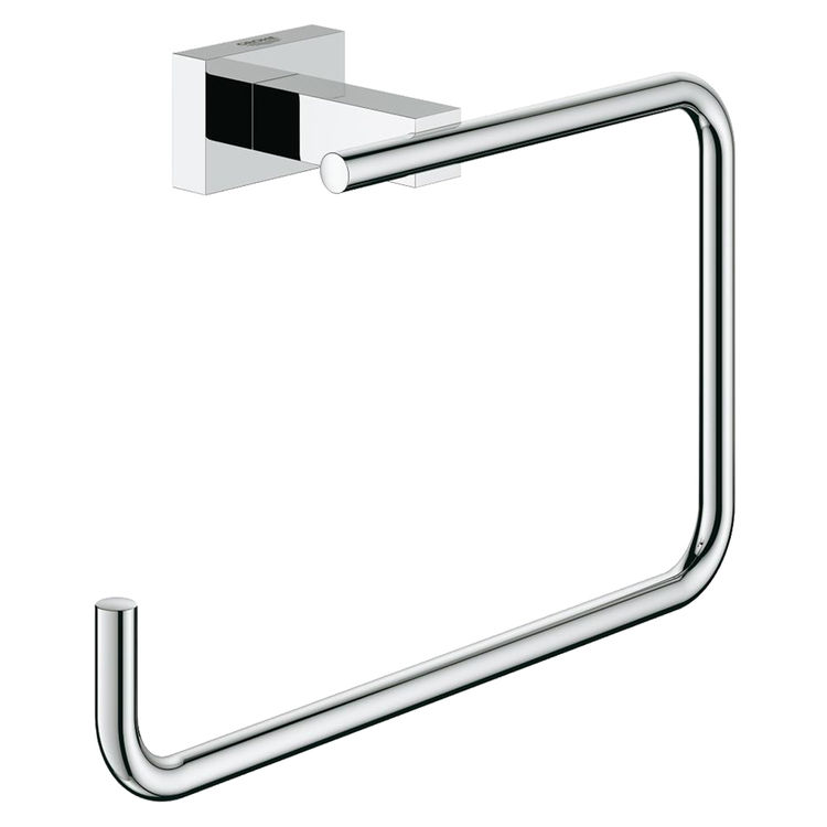 View 2 of Grohe 40510001 Grohe 40510001 Essentials Cube Towel Ring, Starlight Chrome