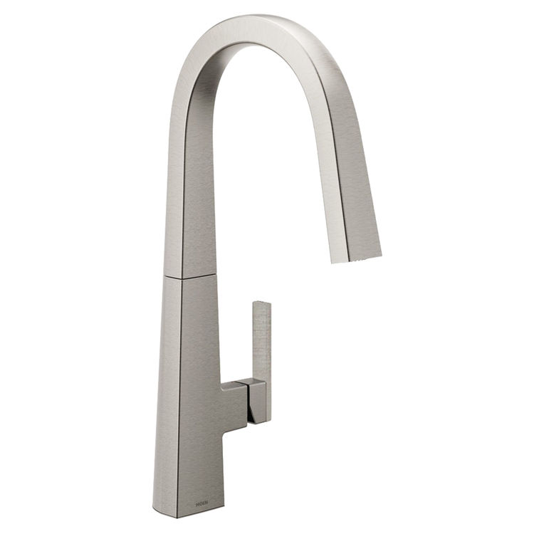 View 2 of Moen S75005SRS Moen S75005SRS Nio One-Handle Pulldown Kitchen Faucet, Spot Resistant Stainless (Handle Accent Included)