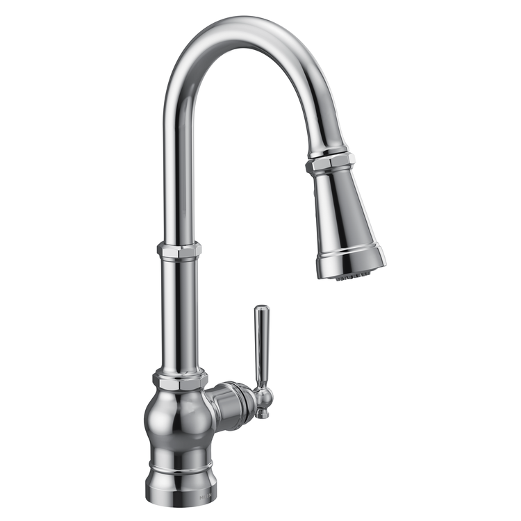 View 2 of Moen S72003 Moen S72003 Paterson Single-Handle Pulldown Kitchen Faucet - Chrome, Lever/Wheel Handles Included