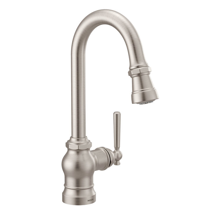 View 2 of Moen S52003SRS Moen S52003SRS Paterson Single-Handle Pulldown Bar/Prep Faucet - Spot Resist Stainless, Lever/Wheel Handles Included