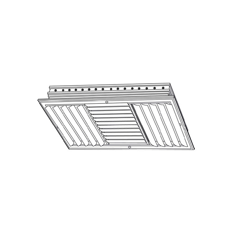 View 3 of Shoemaker CB30-0-6X6 6X6 Soft White Three-Way Adjustable Curved Blade Diffuser (Aluminum) Opposed Blade Damper- Shoemaker CB30-0