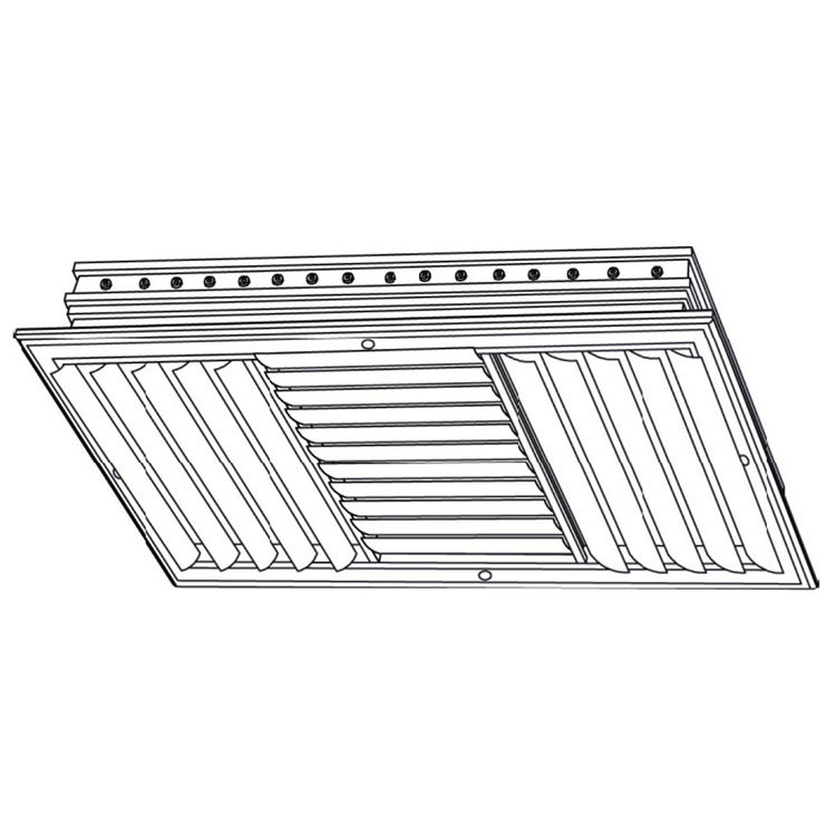 View 3 of Shoemaker CB30-14X6 14X6 Soft White Three-Way Adjustable Curved Blade Diffuser (Aluminum) - Shoemaker CB30