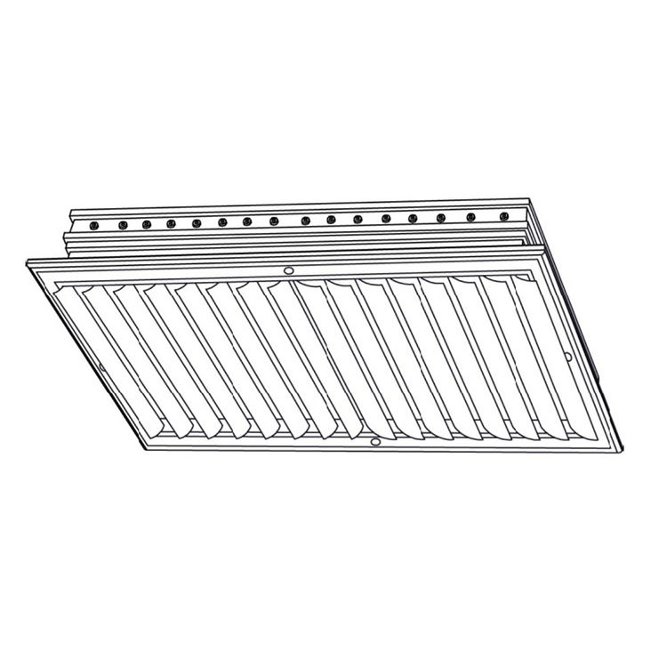 View 3 of Shoemaker CB20-16X12 16X12 Soft White Two-Way Adjustable Curved Blade Diffuser (Aluminum) - Shoemaker CB20