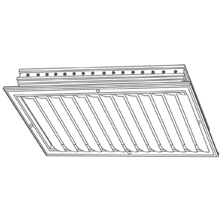 View 3 of Shoemaker CB10-36X6 36X6 Soft White One-Way Adjustable Curved Blade Diffuser (Aluminum) - Shoemaker CB10