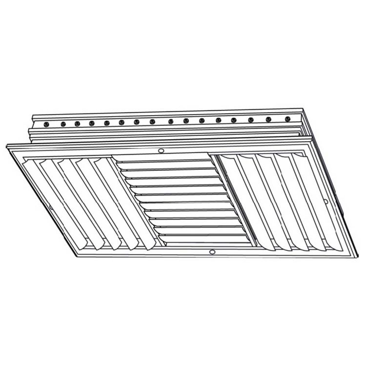 View 3 of Shoemaker CB30-0-24X6 24X6 Soft White Three-Way Adjustable Curved Blade Diffuser (Aluminum) Opposed Blade Damper- Shoemaker CB30-0