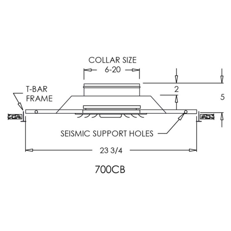 View 4 of Shoemaker 700CB40-0-6X6 6X6 Soft White Adjustable Curved Blade Diffuser in T-Bar Panel Opposed Blade Damper - Shoemaker 700CB40-0 Series