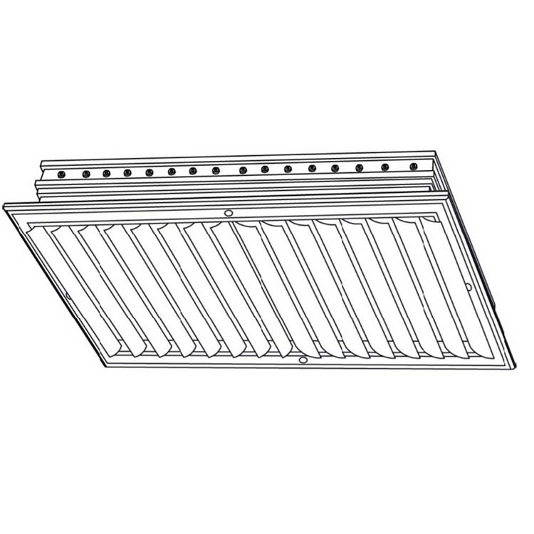 View 5 of Shoemaker CB20-0-24X12 24X12 Soft White Two-Way Adjustable Curved Blade Diffuser (Aluminum) Opposed Blade Damper- Shoemaker CB20-0