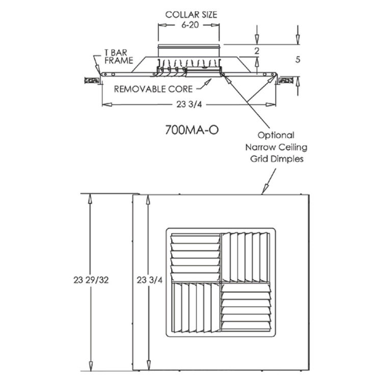View 5 of Shoemaker 700MA0-8X8-8 8X8-8 Soft White Modular Core Diffuser in T-Bar Panel Opposed Blade Damper- Shoemaker 700MA-0