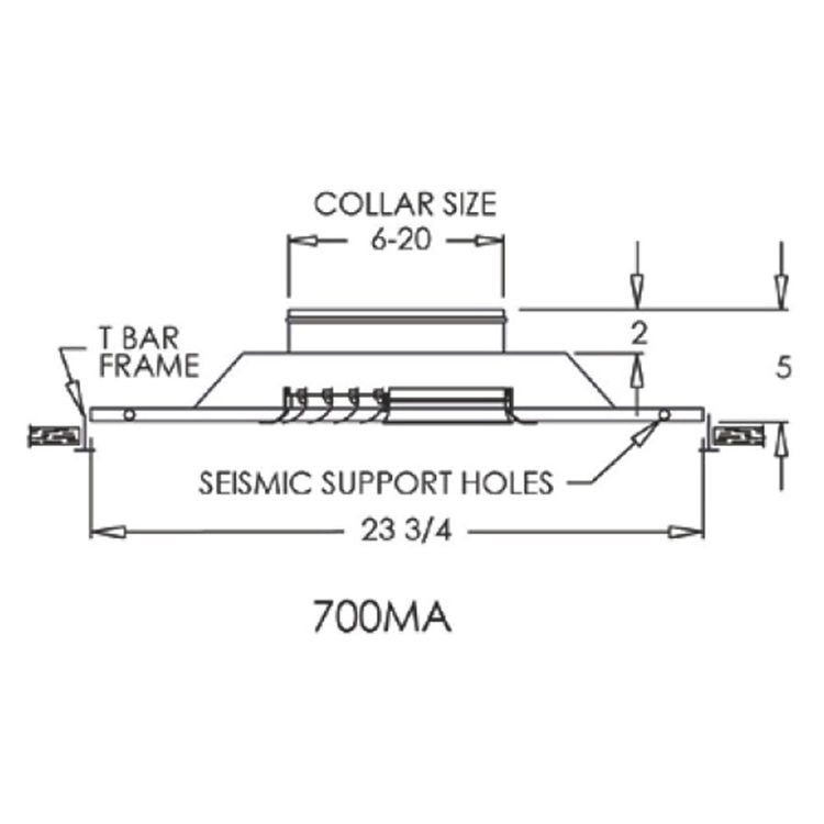 View 3 of Shoemaker 700MA0-12X12-9 12X12-9 Soft White Modular Core Diffuser in T-Bar Panel Opposed Blade Damper- Shoemaker 700MA-0