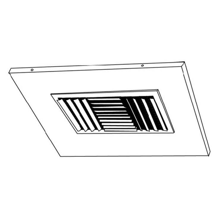 View 3 of Shoemaker 700CB40-0-14X14-6 14X14-6 Soft White Adjustable Curved Blade Diffuser in T-Bar Panel Opposed Blade Damper- Shoemaker 700CB40-0 Series