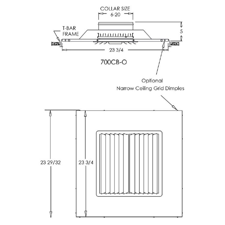 View 5 of Shoemaker 700CB40-20X20-20 20X20-20 Soft White Adjustable Curved Blade Diffuser in T-Bar Panel - Shoemaker 700CB40 Series