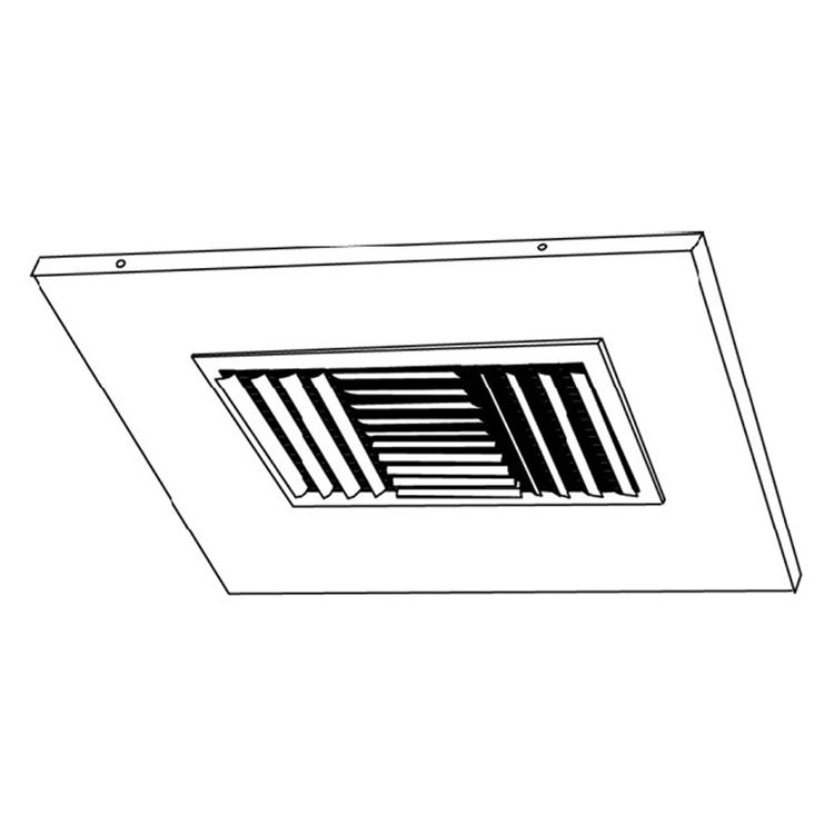 View 4 of Shoemaker 700CB40-0-18X18-8 18X18-8 Soft White Adjustable Curved Blade Diffuser in T-Bar Panel Opposed Blade Damper - Shoemaker 700CB40-0 Series