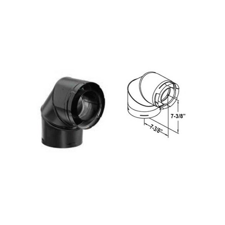 View 3 of M&G DuraVent 58DVA-E90B M&G DuraVent 5x8 DirectVent Pro 90-Degree Elbow, Black - 58DVA-E90B