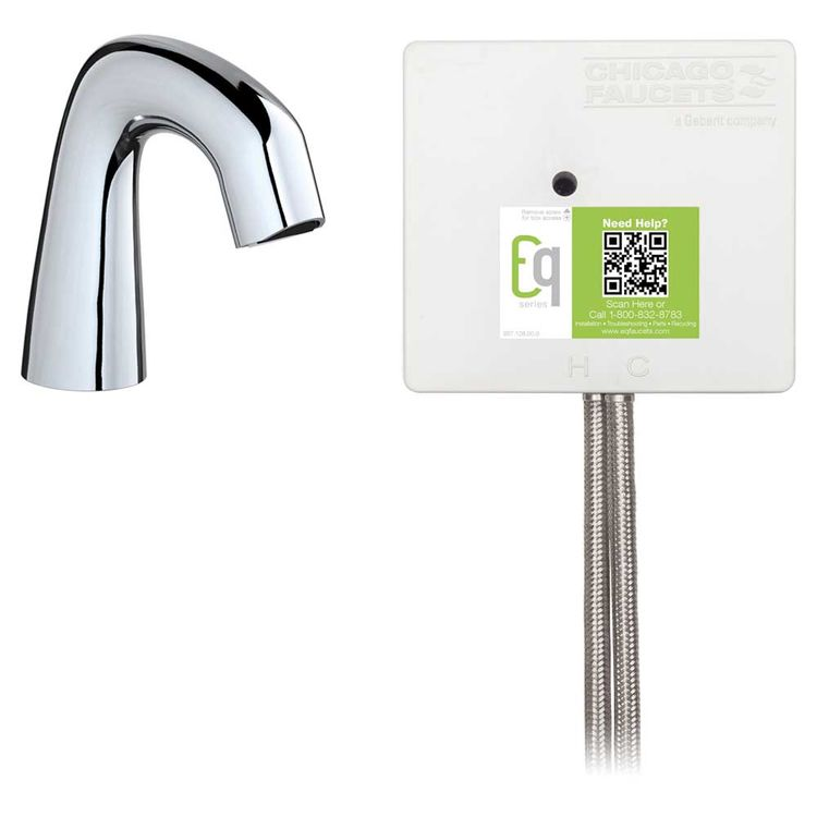 View 3 of Chicago Faucet EQ-A11A-41ABCP Chicago Faucets EQ-A11A-41ABCP EQ Chrome EQ Curved Series Lavatory Sink Faucet with Hands-free Infrared Detection