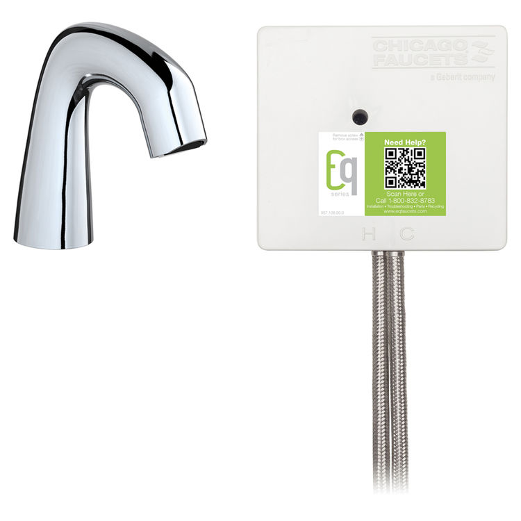 View 3 of Chicago Faucet EQ-D11A-33ABCP-MP Chicago Faucets EQ-D11A-33ABCP-MP EQ Chrome EQ Curved Series Lavatory Sink Faucet with Hands-free Infrared Detection - Master Pack of 6