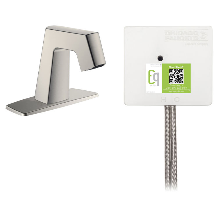 View 3 of Chicago Faucet EQ-B12A-51ABBN Chicago Faucets EQ-B12A-51ABBN EQ Brushed Nickel EQ Angular Series Lavatory Sink Faucet with Hands-free Infrared Detection