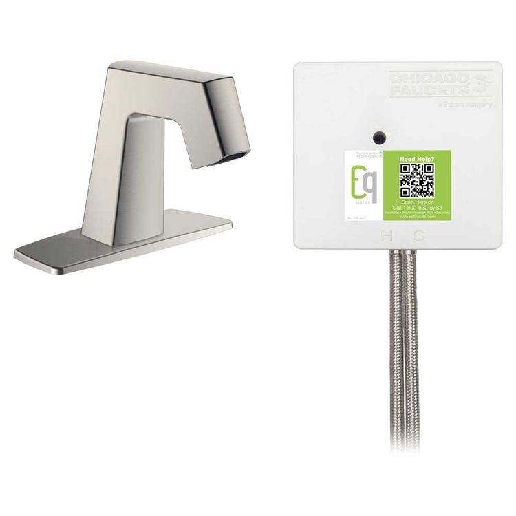 View 3 of Chicago Faucet EQ-B12A-13ABBN Chicago Faucets EQ-B12A-13ABBN EQ Brushed Nickel EQ Angular Series Lavatory Sink Faucet with Hands-free Infrared Detection