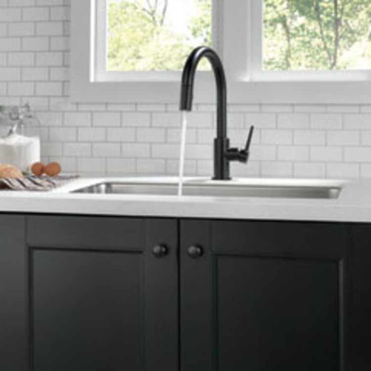 View 3 of Delta 9159-BL-DST Delta 9159-BL-DST Trinsic Single Handle Pull-Down Kitchen Faucet, Matte Black