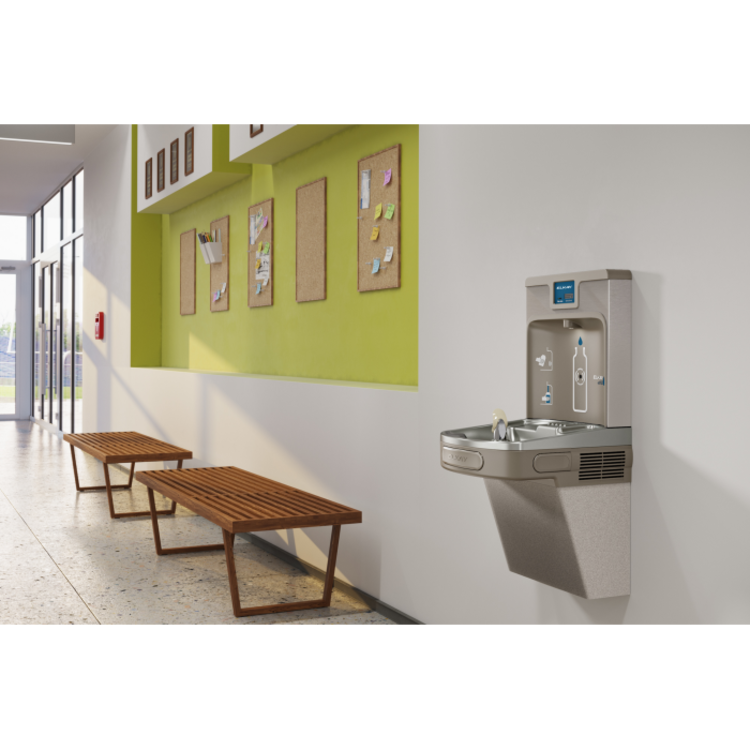 View 6 of Elkay LZS8WSLP Elkay LZS8WSLP Enhanced ezH2O Bottle Filling Station w/ Single Cooler - Filtered, 8 GPH, Wall Mount, ADA, Light Gray Granite