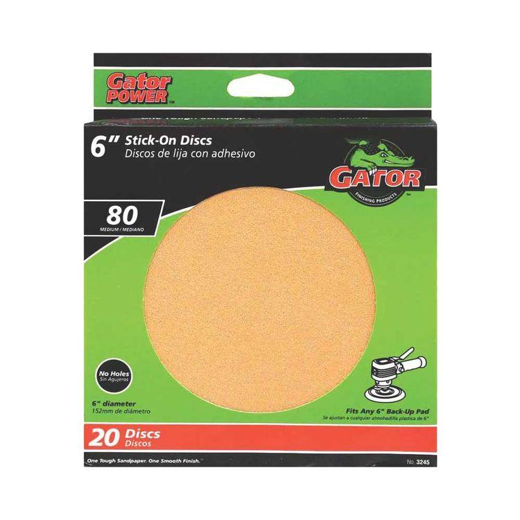 Gator Red Resin 3245 Stick-on Sanding Disc, 6 In, 80 Grit