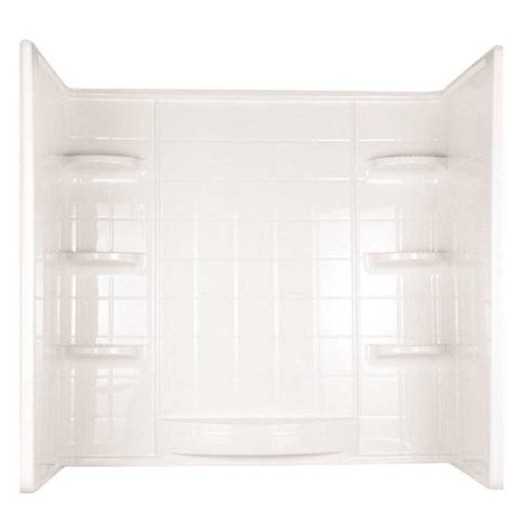 American Shower 39234 Indulgence 39234 3-Piece Surround Tile Look Bath Tub Wall Kit, 31-1/4 in L x 60 in W x 59-1/4 in H, Polycomposite