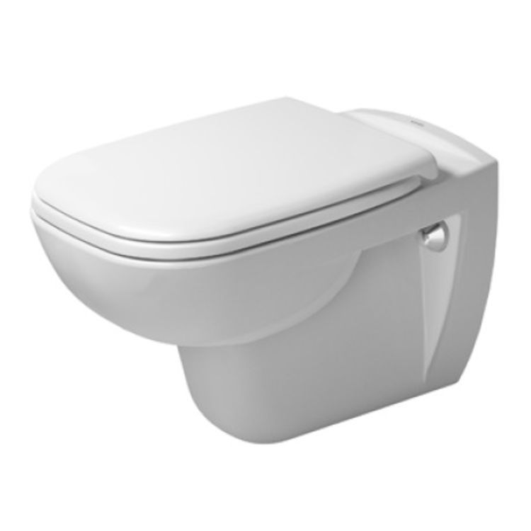 Duravit 25700920922 Duravit 25700920922 D-Code Dual Flush One-Piece Wall Mounted Rimless Elongated Toilet in White Finish - HygieneGlaze