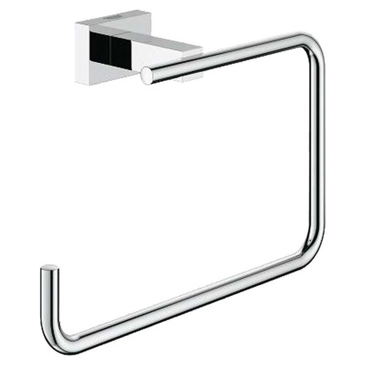 View 3 of Grohe 40510001 Grohe 40510001 Essentials Cube Towel Ring, Starlight Chrome