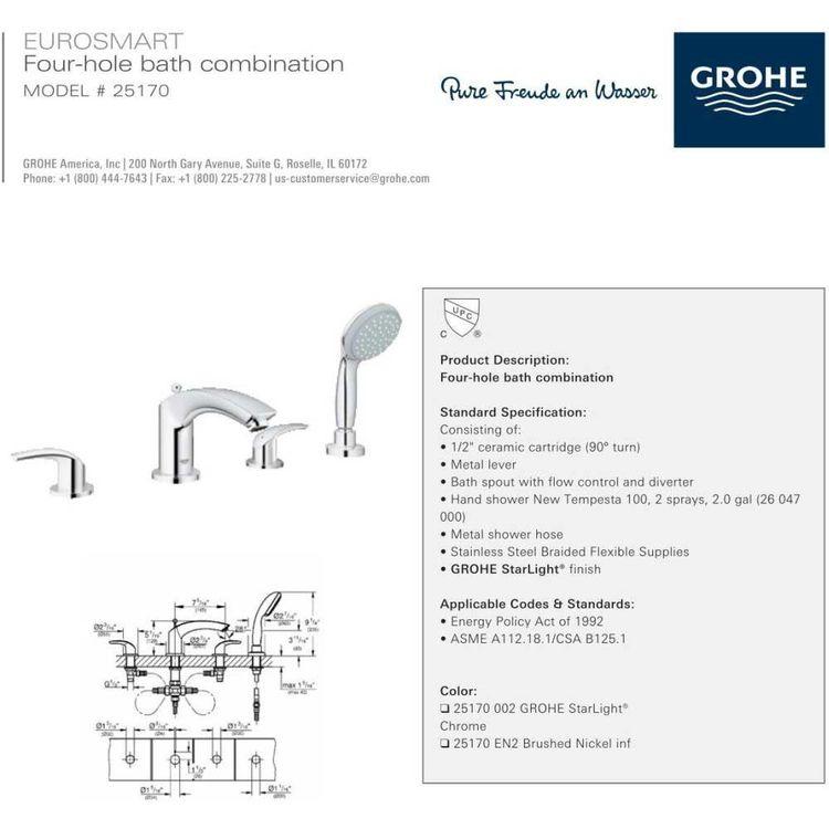 Grohe 25170002 Eurosmart 4-Hole Roman Bathtub Faucet, Starlight Chrome