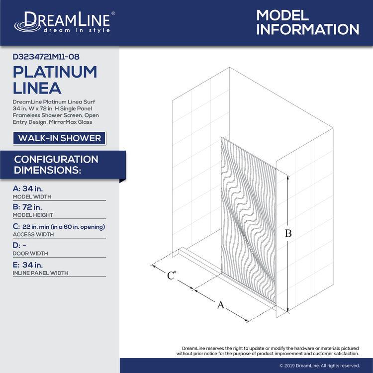 View 11 of Dreamline D3234721M11-08 DreamLine D3234721M11-08 Platinum Linea Surf 34