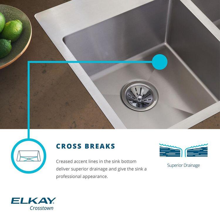 View 5 of Elkay ECTSRAD25226TBG1 Elkay Crosstown Stainless Steel 25