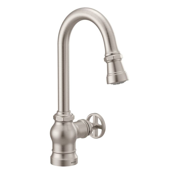 View 3 of Moen S52003SRS Moen S52003SRS Paterson Single-Handle Pulldown Bar/Prep Faucet - Spot Resist Stainless, Lever/Wheel Handles Included