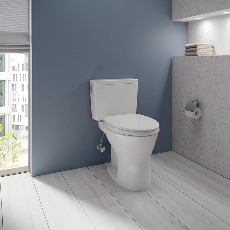 View 4 of Toto CST746CEMFG#01 TOTO Drake Two-Piece Elongated Dual Flush 1.28 and 0.8 GPF Universal Height DYNAMAX TORNADO FLUSH Toilet with CEFIONTECT, Cotton White - CST746CEMFG#01
