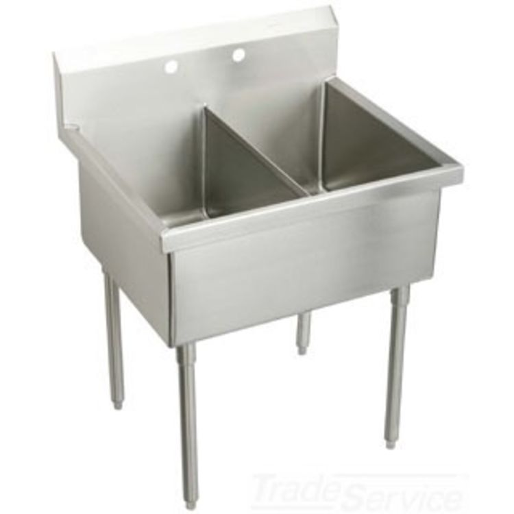 Elkay SS8236OF_ Elkay  SS8236OF Double Bowl Stainless Steel Scullery Sink