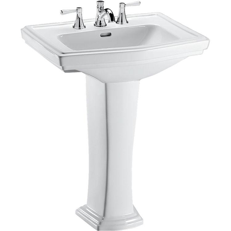 ... 01 Clayton 27 x 20 Cotton White Pedestal Lavatory Sink PlumbersStock