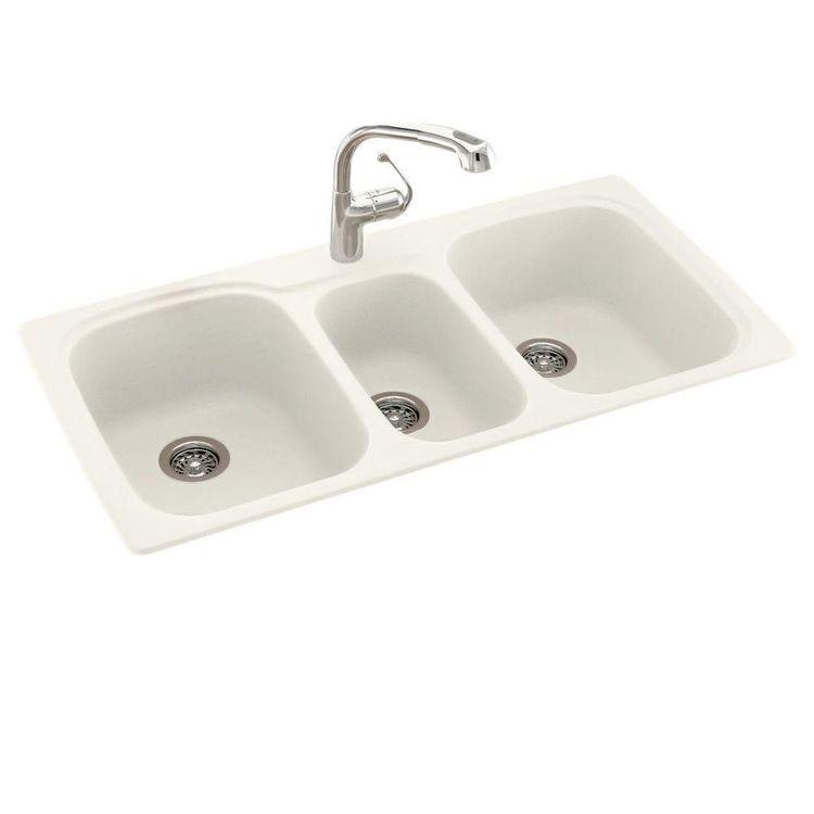 Swanstone kstb 4422 010 white drop in kitchen sink for Swanstone undermount sinks