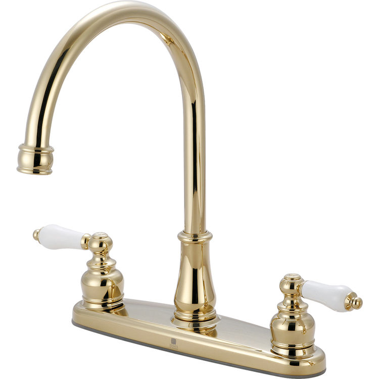 Pioneer 2br110 Pb Two Handle Kitchen Faucet In An Elegant Polished Brass Finish