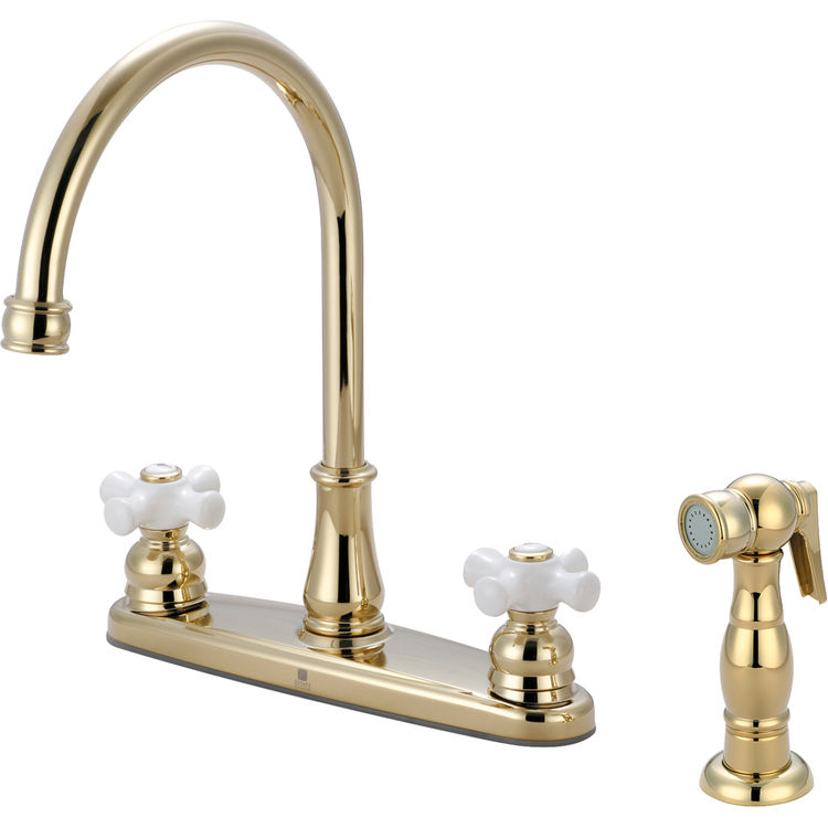 Pioneer 2br121 Pb Two Handle Kitchen Faucet In An Elegant Polished Brass Finish